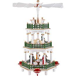 3 - stöckige Pyramide Christi Geburt weiss  -  35cm