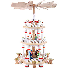 3 - stöckige Pyramide Christi Geburt weiß  -  40cm