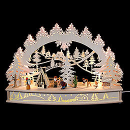 "3D Candle Arch  -  ""Life Around the Lodge"" with Moving Figurines and Smoking House  -  68x46x17cm / 27x18x7 inch"