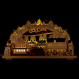 3D Candle Arch  -  Railway with smoking Engine  -  LED  -  70x38cm / 27.6x15 inch