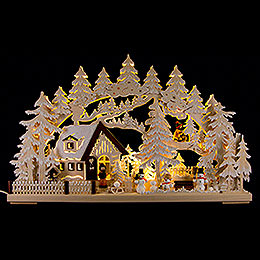 3D Candle Arch  -  Winter Scenery with White Frost. Electr. Candles  -  62x39cm / 24.41inchx15.35 inch