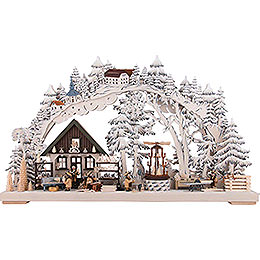 3D Double Arch  -  Handicrafts from the Ore Mountains with White Frost  -  72x43cm / 28x17 inch