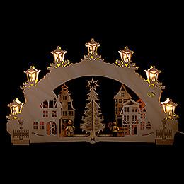 """3D - Schwibbogen """"Auf dem Weihnachtsmarkt""""  -  52x32cm"""