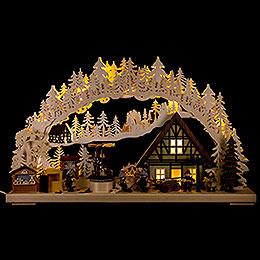 3D - Schwibbogen Weihnachtsmarktbau  -  72x43cm