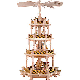 4 - Tier Pyramid  -  Nativity Scene Natural Wood  -  54cm / 21 inch