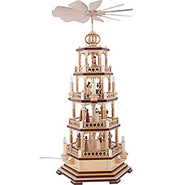 4 - Tier Pyramid  -  The Christmas Story  -  70cm / 28 inch  -  120 V Electr. Motor (US - Standard)