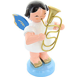 Angel with Baritone  -  Blue Wings  -  Standing  -  9,5cm / 3,7 inch