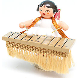 Angel with Bass Xylophone  -  Red Wings  -  Standing  -  6cm / 2.4 inch