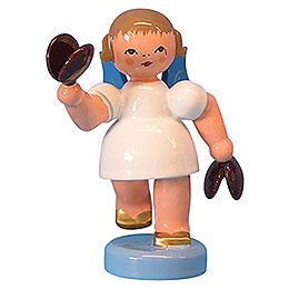 Angel with Castanets  -  Blue Wings  -  Standing  -  6cm / 2,3 inch