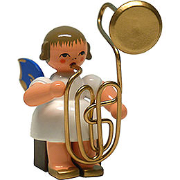 Angel with Contrabass Trombone  -  Blue Wings  -  Sitting  -  8cm / 3.1 inch