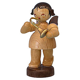 Angel with French Horn  -  Natural Colors  -  Standing  -  6cm / 2,3 inch