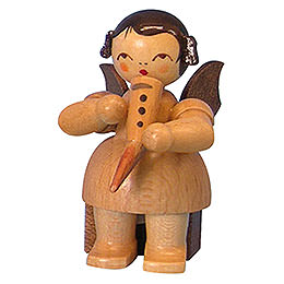 Angel with Gemshorn  -  Natural Colors  -  Sitting  -  5cm / 2 inch