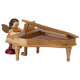 Angel with Piano  -  Natural Colors  -  Sitting  -  6cm / 2,3 inch