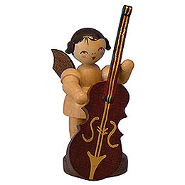 Angel with Plucked Bass  -  Natural Colors  -  Standing  -  6cm / 2,3 inch
