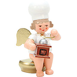 Baker Angel with Coffeemill  -  7,5cm / 3 inch