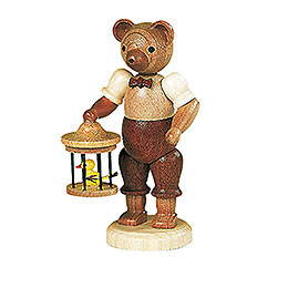 Bear with Bird Cage  -  10cm / 4 inch