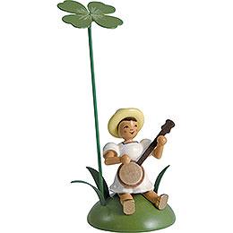 Blumenkind mit Klee und Banjo sitzend  -  12cm