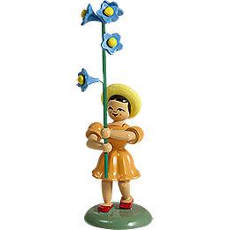 Blumenkind mit Vergissmeinnicht, farbig  -  11,5cm