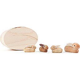 Bunny Family natural in Wood Chip Box  -  3cm / 1.2 inch