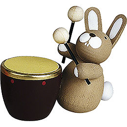 Bunny with Kettle Drum  -  3cm / 1.2 inch