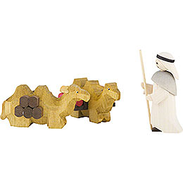 Camel Herder and lying Camels, Set of Three, Stained  -  7cm / 2.8 inch