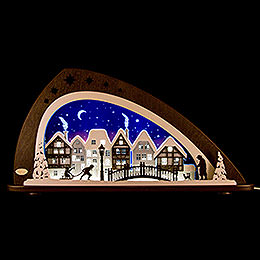 "Candle Arch  -  LED ""Winter in the Old Town""  -  66x33,8cm / 26x13.3 inch"