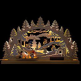Candle Arch  -  Winter Scene Snowman  -  62x33cm / 24.4x13 inch