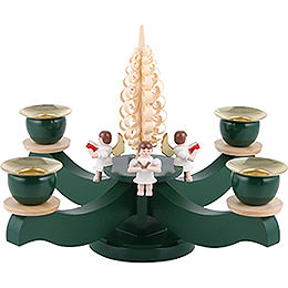 Candle Holder  -  Advent Four Sitting Angels with Wood Chip Tree  -  22x19cm / 8.7x7.5 inch