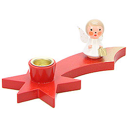 Candle Holder  -  Angel on Comet  -  Red  -  3cm / 1.2 inch