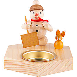 Candle Holder  -  Snowman with Snow Shovel  -  8,5cm / 3.3 inch