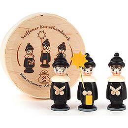 Carolers black in Wood Chip Box  -  3,5cm / 1.4 inch