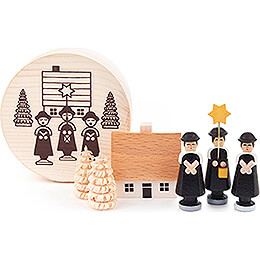 Carolers black in Wood Chip Box  -  4cm / 1.6 inch