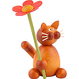 Cat Charlie with Flower  -  8cm / 3.1 inch