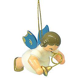 Christbaumschmuck Engel mit Waldhorn  -  Blaue Flügel  -  schwebend  -  5,5cm