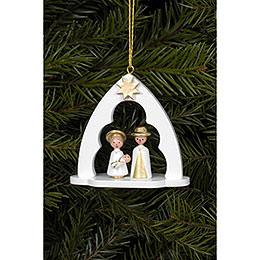 Christbaumschmuck Heilige Familie im Bogen weiss  -  6,5x6,2cm