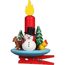 Christbaumschmuck Kerze mit Schneemann auf Klammer  -  6x8,5cm