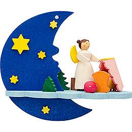 Christbaumschmuck Mond - Wolke - Engel mit Wiege  -  8cm