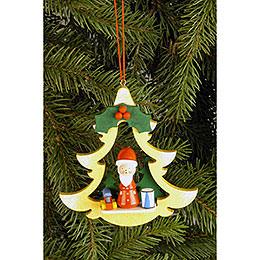 Christbaumschmuck Tanne mit Weihnachtsmann  -  8,5x8,7cm