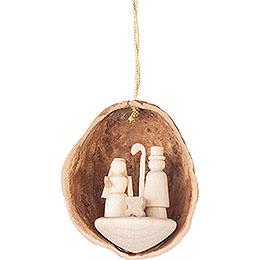 Christbaumschmuck Walnussschale mit Christi Geburt  -  4,5cm