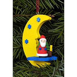 Christbaumschmuck Weihnachtsmann am Mond  -  4,5x6,3cm
