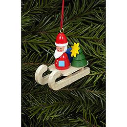 Christbaumschmuck Weihnachtsmann auf Schlitten  -  4,7x4,3cm