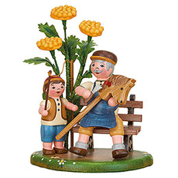 Country Idyll Grandpa and I  -  10cm / 3.9 inch