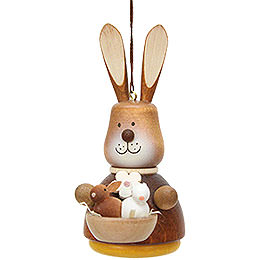 Easter Ornament  -  Teeter Bunny with Babys Natural  -  9,8cm / 3.9 inch
