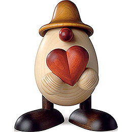 Eierkopf Hanno mit Herz, braun  -  11cm