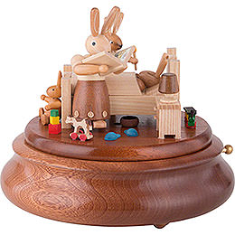 Electronic Music Box  -  Bunny Bed with Good Night Stories  -  16cm / 6 inch