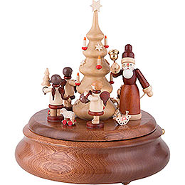 Elektronische Spieldose  -  Weihnachtsmann und Geschenkeengel natur  -  21cm