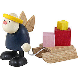 Engel Hans mit Geschenkeschlitten  -  7cm