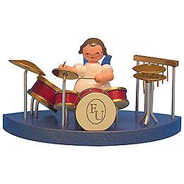 Engel am Schlagzeug passend zu Wolkenstecksystem  -  Blaue Flügel  -  stehend  -  6cm