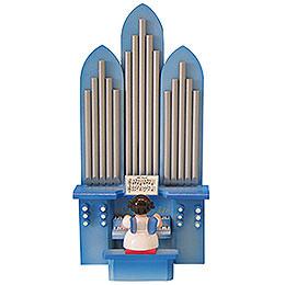 """Engel an der Orgel mit Spielwerk """"Stille Nacht""""  -  Blaue Flügel  -  stehend  -  6cm"""