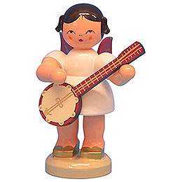 Engel mit Banjo  -  Rote Flügel  -  stehend  -  9,5cm
